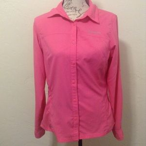Columbia Pink Women's Long Sleeve Button Down